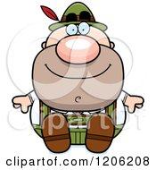 Cartoon Of A Happy Short Oktoberfest German Man Sitting Royalty Free Vector Clipart