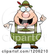 Cartoon Of A Happy Chubby Oktoberfest German Man With An Idea Royalty Free Vector Clipart