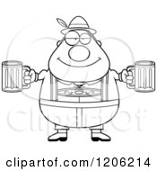 Cartoon Of A Black And White Happy Chubby Oktoberfest German Man Holding Two Beers Royalty Free Vector Clipart
