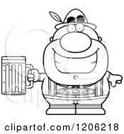 Cartoon Of A Black And White Happy Short Oktoberfest German Man Holding A Beer Royalty Free Vector Clipart