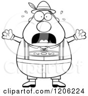 Cartoon Of A Black And White Scared Chubby Oktoberfest German Man Royalty Free Vector Clipart