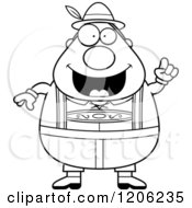 Cartoon Of A Black And White Happy Chubby Oktoberfest German Man With An Idea Royalty Free Vector Clipart