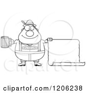 Cartoon Of A Black And White Happy Chubby Oktoberfest German Man Holding A Beer And Sign Royalty Free Vector Clipart