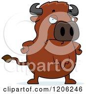 Cartoon Of A Mad Chubby Buffalo Royalty Free Vector Clipart