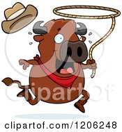 Cartoon Of A Running Chubby Rodeo Buffalo Royalty Free Vector Clipart