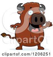 Cartoon Of A Chubby Buffalo Waving Royalty Free Vector Clipart