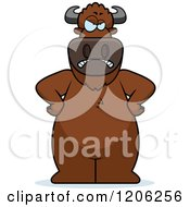 Cartoon Of A Mad Buffalo With Hands On His Hips Royalty Free Vector Clipart