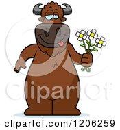 Cartoon Of A Romantic Buffalo Holding Flowers Royalty Free Vector Clipart