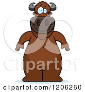 Cartoon Of A Happy Standing Buffalo Royalty Free Vector Clipart