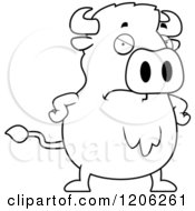 Cartoon Of A Black And White Mad Chubby Buffalo Royalty Free Vector Clipart