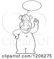 Cartoon Of A Black And White Buffalo With An Idea Royalty Free Vector Clipart by Cory Thoman