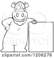 Cartoon Of A Black And White Buffalo Leaning On A Sign Board Royalty Free Vector Clipart by Cory Thoman