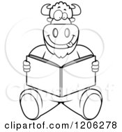 Cartoon Of A Black And White Buffalo Reading A Book Royalty Free Vector Clipart by Cory Thoman