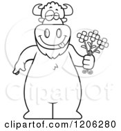 Cartoon Of A Black And White Romantic Buffalo Holding Flowers Royalty Free Vector Clipart by Cory Thoman