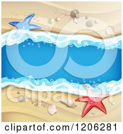 Clipart Of A Beach Stream Flowing Through Sand Shells And Starfish Royalty Free Vector Illustration by merlinul
