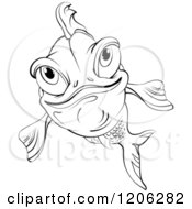 Cartoon Of A Black And White Happy Fish Royalty Free Vector Clipart by merlinul