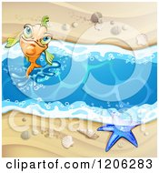 Cartoon Of A Happy Orange Fish Jumping From A Beach Stream With A Starfish Sand And Shells Royalty Free Vector Clipart by merlinul