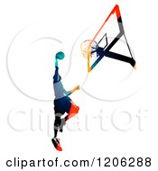 Clipart Of A High Contrast Basketball Player Slam Dunking Royalty Free Illustration