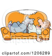 Cartoon Of A Cat Napping On A Mans Tummy On A Couch Royalty Free Vector Clipart by Johnny Sajem