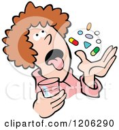 Cartoon Of A Pill Popper Woman Royalty Free Vector Clipart