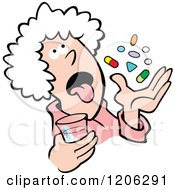 Cartoon Of A Pill Popper Granny Royalty Free Vector Clipart