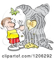 Cartoon Of A Man Carving I Heart Me Into A Tree Royalty Free Vector Clipart
