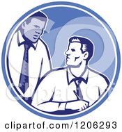 Clipart Of Retro Woodcut Businessmen Talking In A Blue Circle Royalty Free Vector Illustration by patrimonio