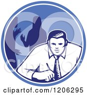 Clipart Of A Retro Woodcut Businessman And Colleagues In A Blue Circle Royalty Free Vector Illustration by patrimonio