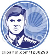 Clipart Of A Retro Woodcut Businessman Smiling In A Blue Sunshine Circle Royalty Free Vector Illustration by patrimonio