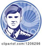 Retro Woodcut Businessman Smiling In A Blue Sunshine Circle