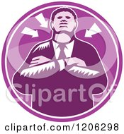 Clipart Of A Retro Woodcut Black Businessman With Folded Arms And Arrows In A Purple Circle Royalty Free Vector Illustration