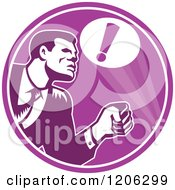 Clipart Of A Retro Woodcut Businessman Responding To An Emergency In A Purple Circle Royalty Free Vector Illustration