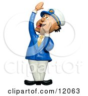 Clay Sculpture Clipart Ship Captain Hollering Royalty Free 3d Illustration