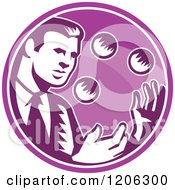 Clipart Of A Retro Woodcut Businessman Juggling Balls Inside A Purple Circle Royalty Free Vector Illustration