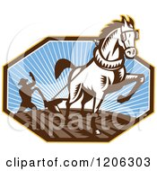 Clipart Of A Retro Woodcut Horse Pulling A Pow And A Farmer In An Octagon Royalty Free Vector Illustration