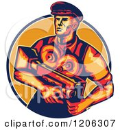 Clipart Of A Retro Movie Director Camera Man In A Lined Circle Royalty Free Vector Illustration