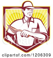 Clipart Of A Retro Mason Worker Man With A Trowel Over A Ray Crest Shield Royalty Free Vector Illustration by patrimonio