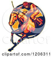 Clipart Of A Retro Racing Jockey And Horse Leaping Through A Circle Royalty Free Vector Illustration