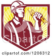 Clipart Of A Retro Electrician Worker Man Holding A Bolt Over A Ray Crest Shield Royalty Free Vector Illustration