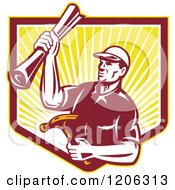 Clipart Of A Retro Strong Carpenter Man Holding A Hammer And Blueprints Over A Ray Shield Crest Royalty Free Vector Illustration