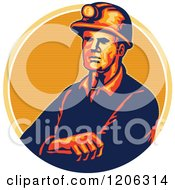 Retro Coal Miner Worker With Folded Arms And A Hard Hat Over A Lined Circle