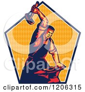 Clipart Of A Retro Blacksmith Worker Man Striking An Anvil With A Sledgehammer Over A Triangle Patterned Pentagon Royalty Free Vector Illustration