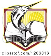 Clipart Of A Retro Woodcut Marlin Fish Leaping From An Open Book Over A Ray Crest Shield Royalty Free Vector Illustration by patrimonio