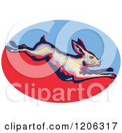 Clipart Of A Retro Leaping Rabbit Over A Blue And Red Oval Royalty Free Vector Illustration by patrimonio