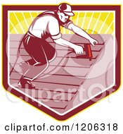 Clipart Of A Retro Roofer Worker Man Using A Nail Gun Over A Ray Crest Shield Royalty Free Vector Illustration
