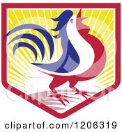 Clipart Of A Blue White And Red Crowing Rooster In A Crest Shield Of Sunshine Royalty Free Vector Illustration