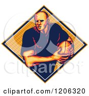 Clipart Of A Retro Rugby Player With A Ball In A Diamond With A Pattern Royalty Free Vector Illustration
