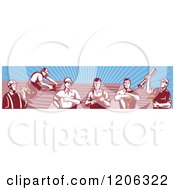 Clipart Of A Team Of Retro Tradesmen Professional Workers And Roofs Over Rays Royalty Free Vector Illustration