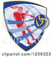 Clipart Of A Retro Female Volleyball Player Spiking A Ball Inside A Crest Shield Royalty Free Vector Illustration