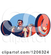 Clipart Of A Retro Strong Bodybuilder Lifting A Barbell Over A Red And Blue Oval Royalty Free Vector Illustration